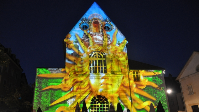 The town centre of Beaune is illuminated at night by spectacular light shows
