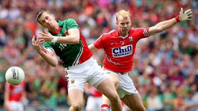 Mayo's Cillian O'Connor, pictured with Cork's Michael Shields, was criticised by the Cork management prior to yesterday's quarter-final