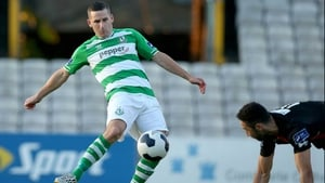 Dean Kelly slots home Shamrock Rovers' second goal at Dalymount Park
