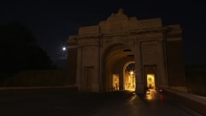 The Menin Gate Memorial in Belgium in near darkness after the lights that normally illuminate it were turned off