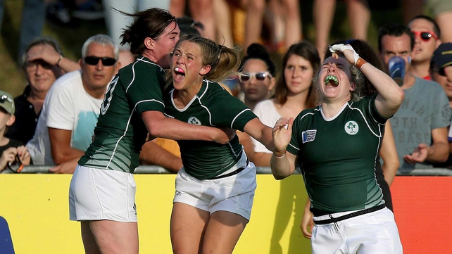 Unbridled joy from Nora Stapleton, Ashleigh Baxter and Niamh Briggs at full-time