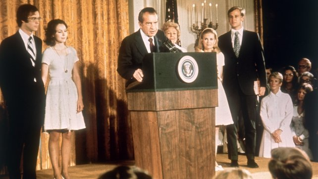Nixon at the White House with his family after his resignation as President on 9 August 1974