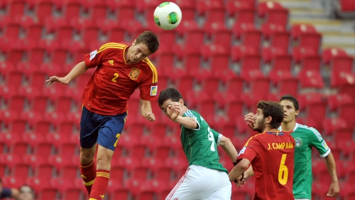 Javier Manquillo wins a header for Spain against Mexico during the U-20 World Cup in Istanbul last year