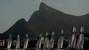Boats leave the start on the Pão de Açúcar course during an international sailing regatta in Rio de Janeiro