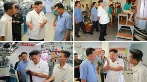 North Korean leader Kim Jong-un is shown visiting the Pyongyang Hosiery Factory