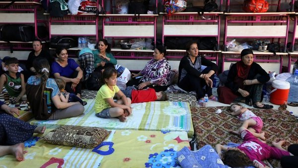 Iraqi Christians who fled the violence in the village of Qaraqush