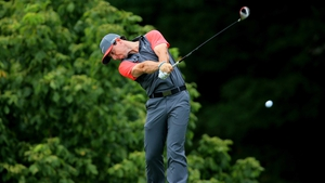 Rory McIlroy hits his tee shot on the fourth hole at Valhalla
