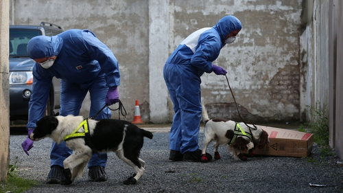 Police with victim recovery dogs in Hanover Street, Portadown, earlier this week