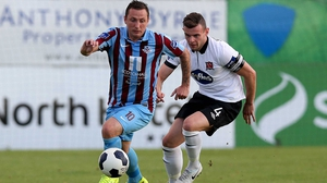 Gary O'Neill (L) equalised for Drogheda with a well-taken strike