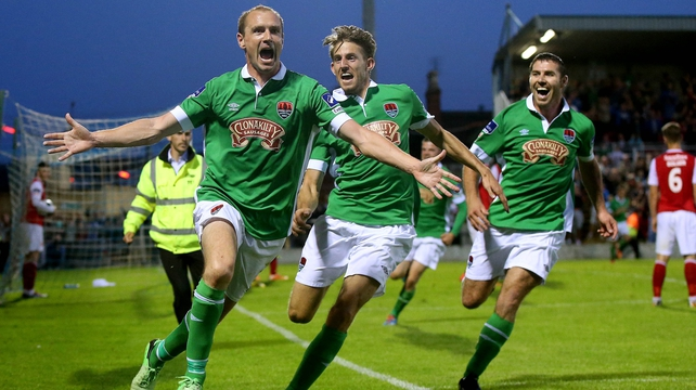Colin Healy celebrates his wonder strike at the Cross