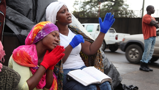 Liberian women pray for God's intervention to curb the spread of Ebola