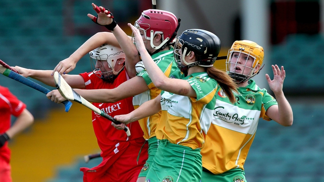 Cork's Denise Cronin with an Offaly queue of Marian Crean, Jean Brady and Michaela Morkan