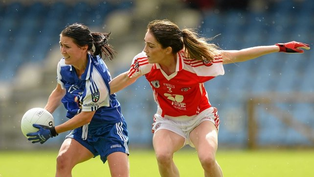 Monaghan's Terese Scott shields the ball from Laura McGillion