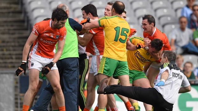 Armagh midfielder Aaron Findon shoved Donegal team doctor Kevin Moran to the ground during clashes at the start of the match