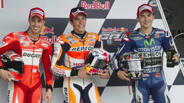 (L-R) Andrea Dovizioso of Italy, Marc Marquez of Spain and Jorge Lorenzo of Spain after qualifying