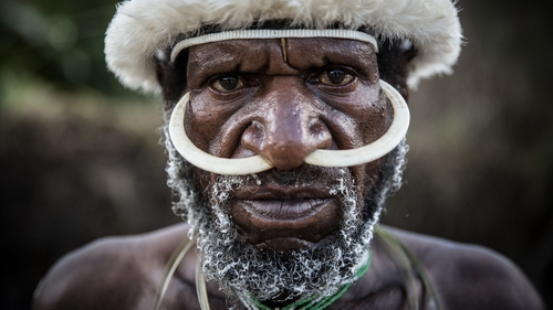 A Papuanese tribal man poses for a portrait during the 25th Baliem Valley festival