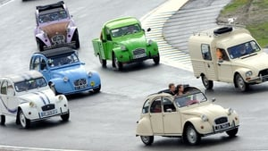 Citroen owners take part in a 2CV parade during the 'Euro Citro 2014', on the circuit of Le Mans, France