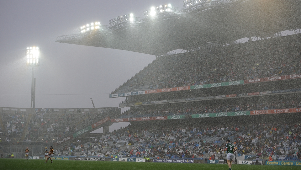Rain sweeps across the pitch at Croke Park