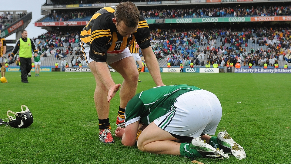 After the storm: Kilkenny's Richie Hogan consoles Wayne McNamara of Limerick after the final whistle