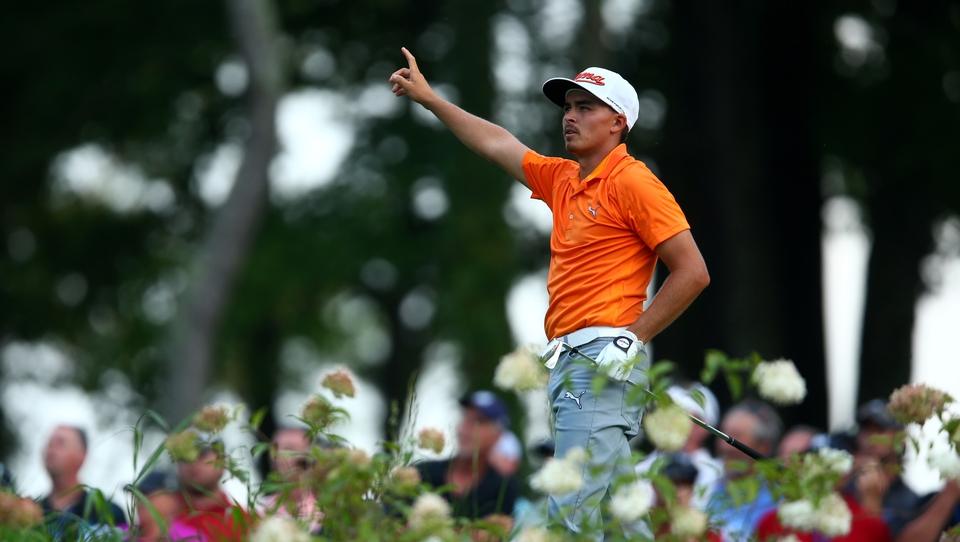 After a miracle par from the wrong fairway on 13, Fowler finally carded a bogey on the 14th (above) and would eventually finish tied for third with Stenson