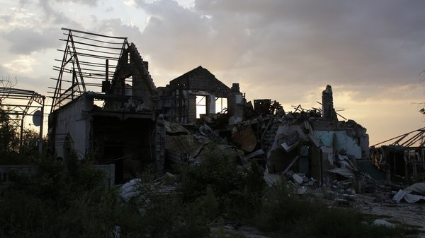 A house destroyed by fighting between Ukrainian armed forces and pro-Russian militants