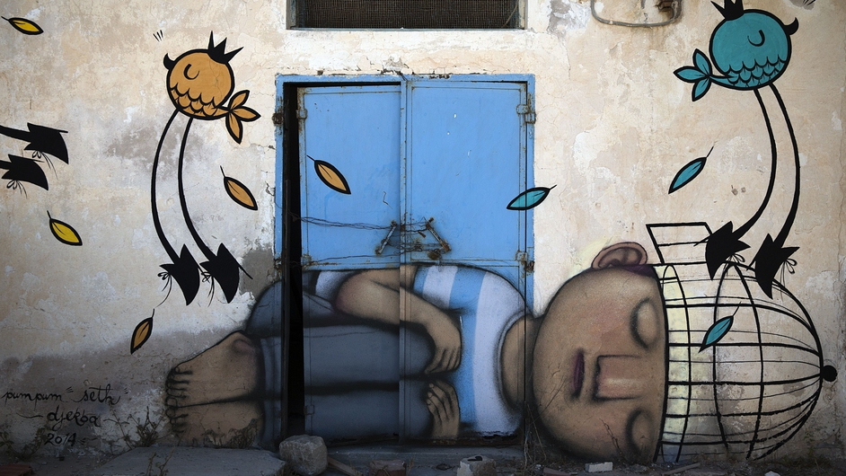A mural by French artist SETH decorates a wall in the village of Erriadh, on the Tunisian island of Djerba, as part of the artistic project 'Djerbahood'