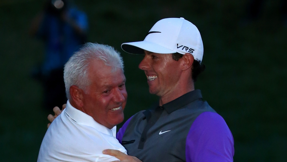 Father Gerry is one of the first to congratulate Rory on the green