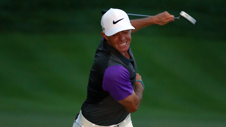 A Seve-like celebration from Europe's leading player and now four-time Major winner