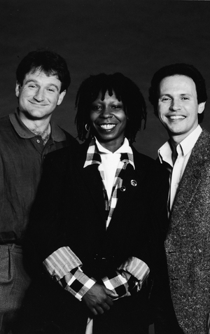 Robin Williams, Whoopi Goldberg and Billy Crystal pictured in 1986
