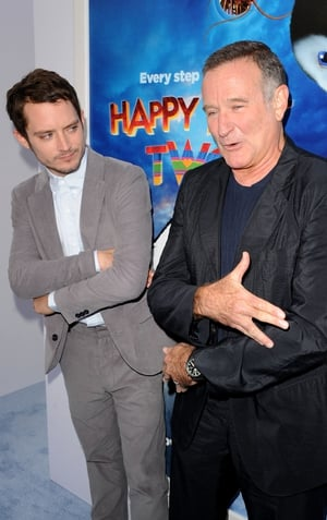 Elijah Wood and Robin Williams attend the premiere of Happy Feet Two, 2011