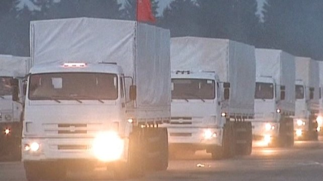 The Russian convoy contains about 280 trucks and left a town near Moscow this morning