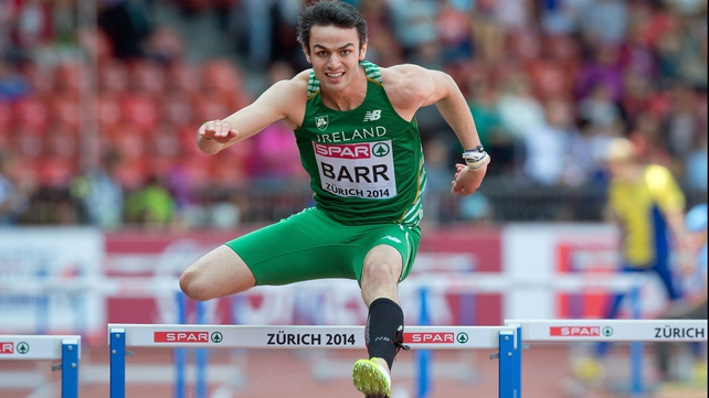 Irish record holder Thomas Barr will now line out in tomorrow's semi-final