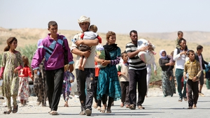 Displaced Iraqi families from the Yazidi community at the Iraqi-Syrian border
