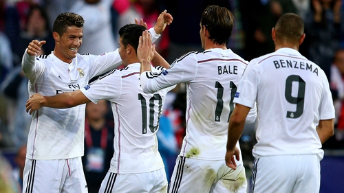 Cristiano Ronaldo (left)  celebrates with team-mates James Rodriguez, Gareth Bale and Karim Benzema after scoring the opening goal