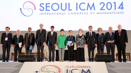 South Korean President Park Geun-hye poses with award winners