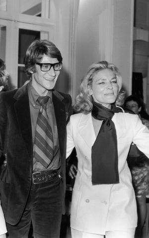 French designer Yves Saint Laurent and Lauren Bacall, 1968