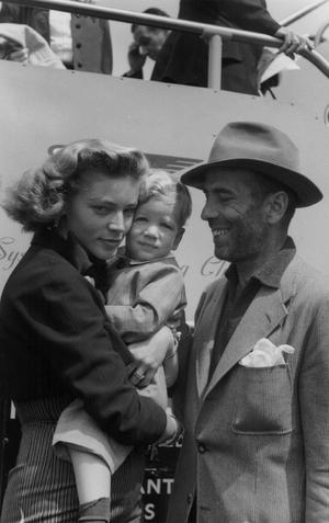 Lauren Bacall, Humphrey Bogart and son Stephen, 1951