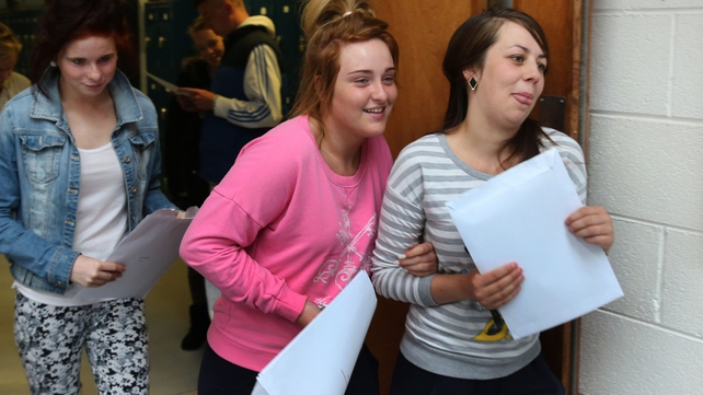 Jodie Moloney, Kelly Blake and Kelly Quinn receive their Leaving Certificate results at St Nessan's Community College, Moylish Park, Limerick
