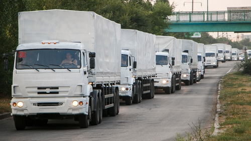The trucks are carrying what Russia says is humanitarian aid