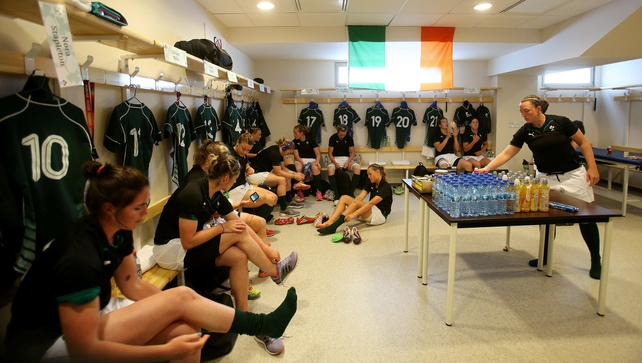 Ireland women in the changing room prior to the match