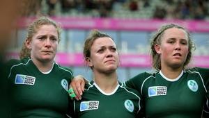 Grace Davitt, Lynne Cantwell and Ashleigh Baxter after the match