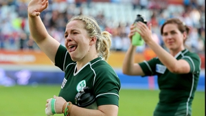 Ireland vs England Niamh Briggs applauds the Ireland fans after the game