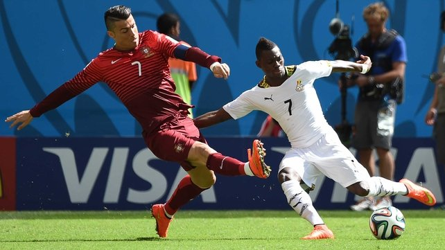 Christian Atsu in action in for Ghana at the 2014 World Cup