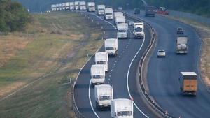 A Russian humanitarian aid convoy winds its way towards eastern Ukraine