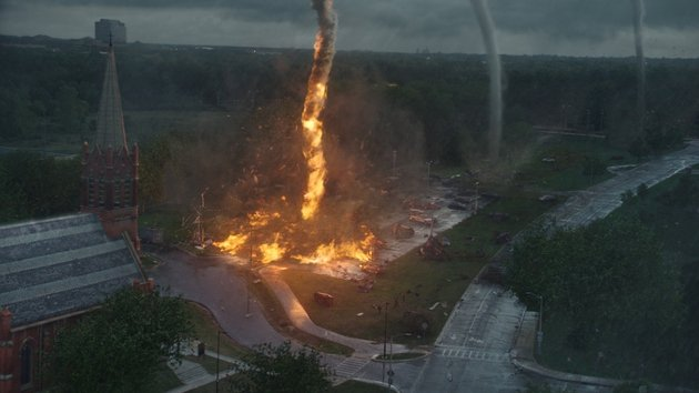 No, your eyes are not deceiving you - that tornado is, in fact, on fire