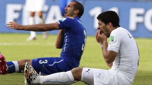 Luis Suarez was banned after biting Italian defender Giorgio Chiellini