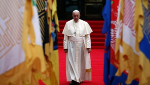Pope Francis arrives to attend a welcoming ceremony at the presidential Blue House