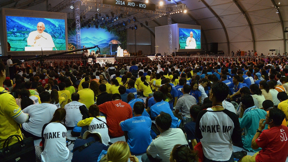 Pope Francis attends the Asia Youth Day event