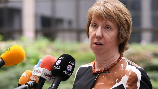 EU foreign affairs chief Catherine Ashton speaks to reporters ahead of the meeting