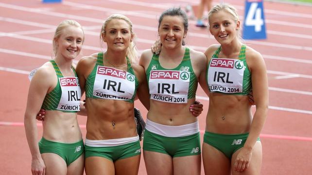 The women's 4x100m relay team of Amy Foster, Kelly Proper, Phil Healy and Sarah Lavin after setting a new national record